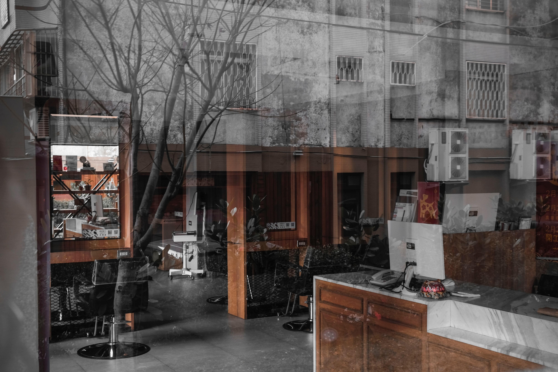 Empty hair salon reception desk